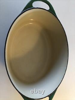 Vintage Le Creuset Cousances 28 Oval Green Casserole Saucepan Large Cast Iron