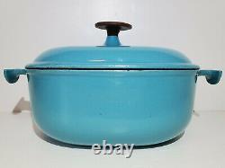 Vintage Le Creuset Dutch Oven #25 ENZO MARI LA MAMA TURQUOISE Paris Blue Cocotte