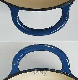 Vintage Le Creuset E Cast Iron Blue Enamel Oval Dutch Oven Stock Pot France