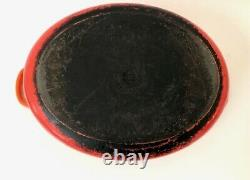 Vintage Le Creuset E Cast Iron Orange Round Dutch Oven Oval