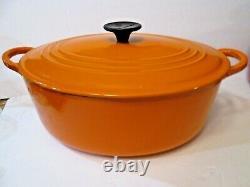 Vintage Le Creuset Enamel Cast Iron Oval Dutch Oven F 6 Qts Volcanic/persimmon