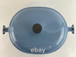 Vintage Le Creuset Enzo Mari La Mama Light Blue #33 Oval Dutch Pot Oven Good Con