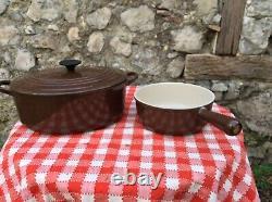 Vintage Le Creuset French Dutch Oven E Brown France Enameled Cast-Iron Pot 20 Cm