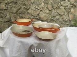 Vintage Le Creuset French Gratin Pans Pot Pan Enameled cast iron orange set