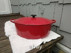 Vintage Le Creuset H 9.5 quart cast iron Oval Dutch Oven Older Red Color