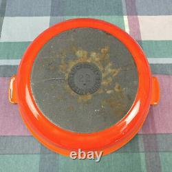 Vintage Le Creuset Oval Cast Iron Dutch Oven #22 1.5 qt Orange Pot & Lid France