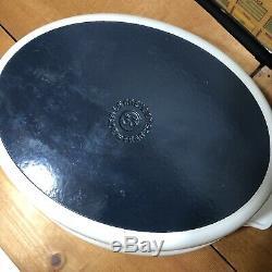Vintage Le Creuset RARE Futura White Oval Cast Iron Enamel Dutch Oven #33