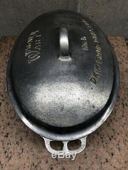 Vintage Wagner Ware Cast Aluminum No. 5 Oval Drip Drop Roaster and Trivet