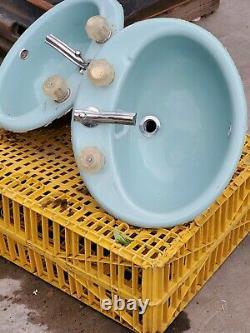 Vintage pair of Robins Egg Blue Kohler Drop In Cast Iron porcelan Bathroom Sinks