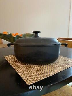 Vintage rare Le Creuset Cast iron not enameled #25 Oval Enzo Mari La Mama