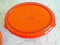 Vtg Descoware 4 QUARTS Oval Dutch Oven Enamel Cast Iron Red Flame Orange Belgium