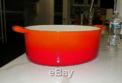 Vtg Le Creuset G Oval Dutch Oven Orange Red Flame 12 1/4 Long 4 3/4 Tall