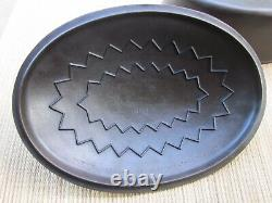 WAGNER WARE #7 DRIP DROP CAST IRON OVAL ROASTER With1287 LID-TINY HANDLE HAIRLINE